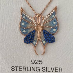 Jewelry - 🦋RESTOCK❣️Silver butterfly necklace sapphire rose